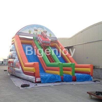 Fireman truck themed giant inflatable slide