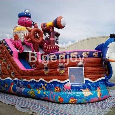 Commercial use octopus inflatable pirate ship combo slide