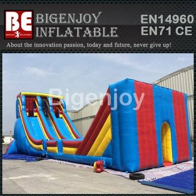 Commercial grade inflatable zip line slide