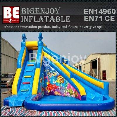 Blue inflatable water slide witn pool