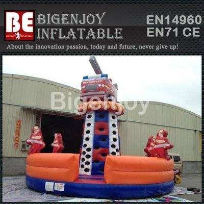 Fire truck type PVC Material inflatable climbing wall