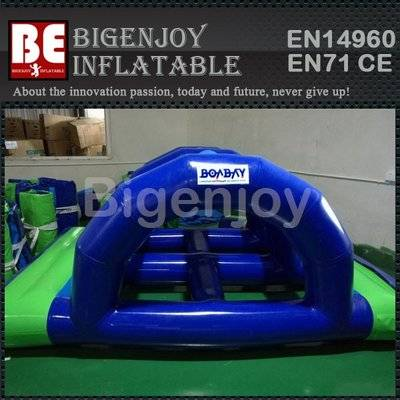 Heat sealed inflatable water bridge on water