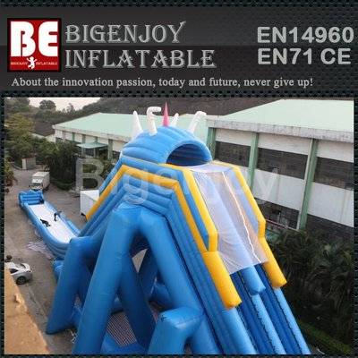 Hippo inflatable water slide with slip and pool