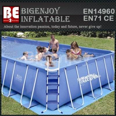Portable steel frame swimming pool for water toys