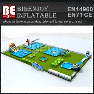 Inflatable Water Park with Metal Ground Frame Pool