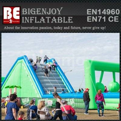 Giant inflatable finish line slides for obstacle