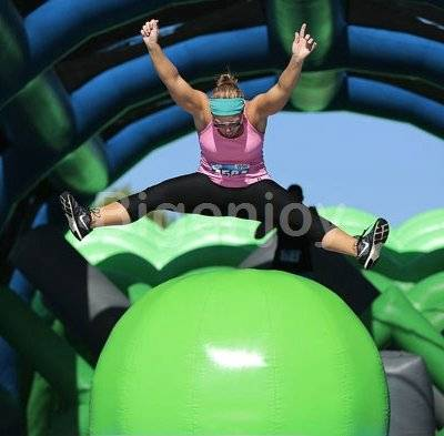 Big baller Challenge wipeout inflatable interactive