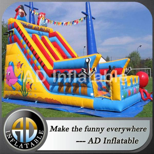 Pirate ship Inflatable slides for children, huge commercial