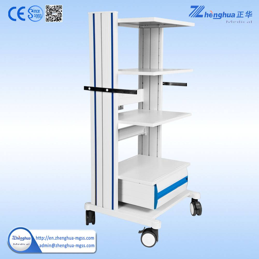 hospital medical emergency trolley for endoscope equipment