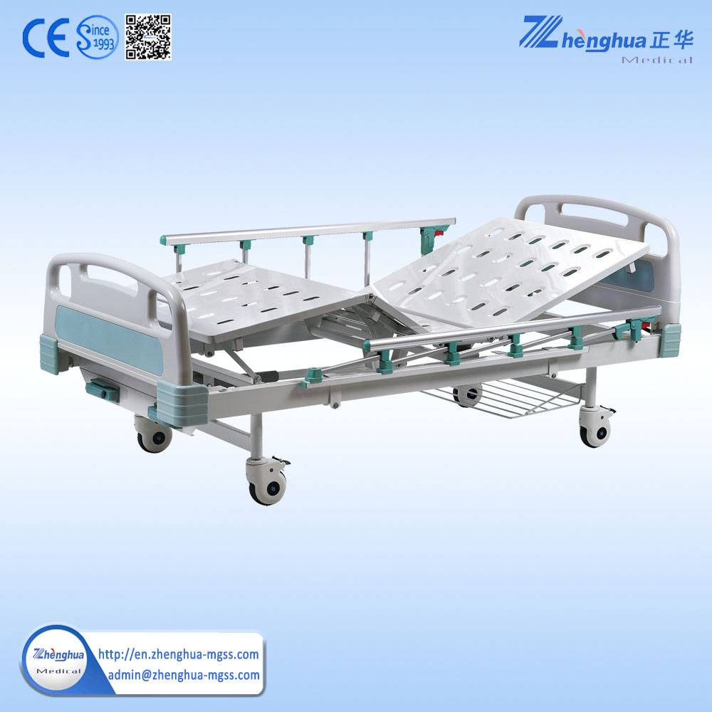 Hospital CE approved functions 2 crank manual patient bed