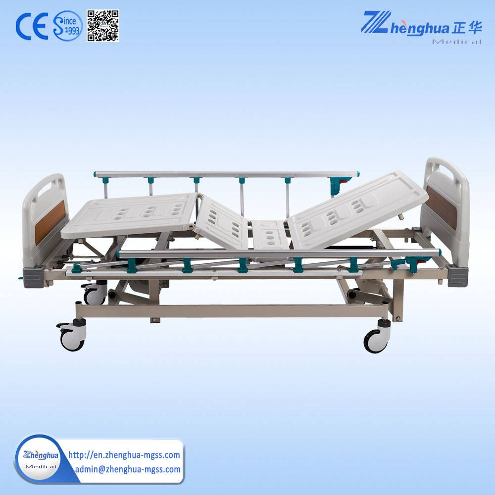 Three crank manual hospital bed with ABS Bedboard hospital bed