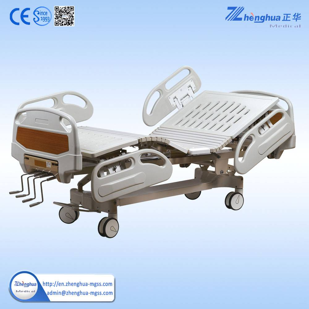 manual hospital bed with 4 handles medical bed