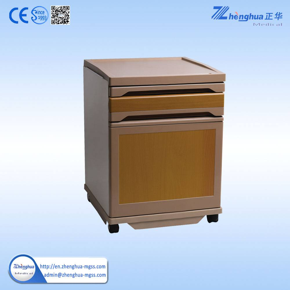 ZHF-BC10 Popular Hospital furniture ABS bedside locker with dinning board and 4castors