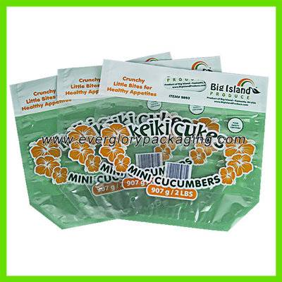 Plastic Stand Up Vented 2LB Mini Cuke Pouch Bag