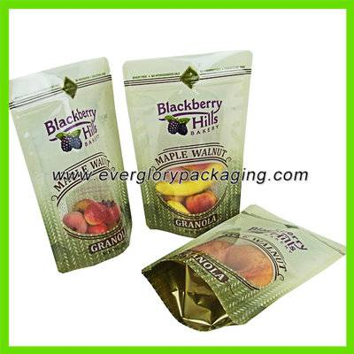 Stand up plastic zipper food bags