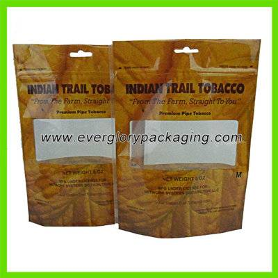 Hot sale stand up tobacco plastic bag with ziplock