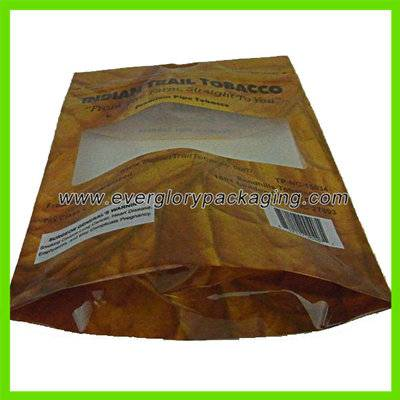 Stand up plastic tobacco pouch bag with a window front